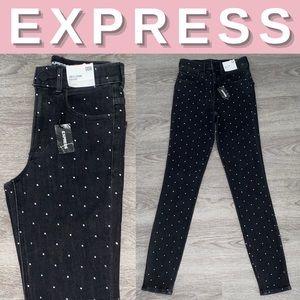 NEW Express High Rise Rhinestone Stretch Jeans;00R